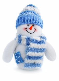 smiling snowman toy dressed in scarf and cap isolated on white background
