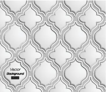 Seamless pattern of 3d grescale Persian arabesque elements