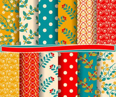 set of abstract vector paper with decorative shapes and design elements for scrapbook