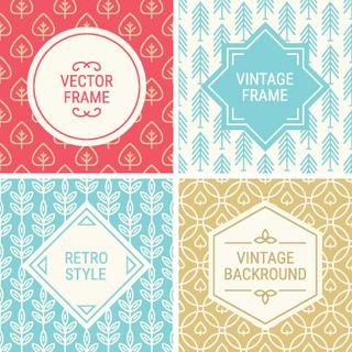 Set of vintage frames in Red, Blue, Gold and Beige on mono line seamless background. Perfect for greeting cards, Christmas gift paper, retro parties. Vector labels and badges