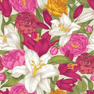 Vector floral seamless pattern with white and red lilies, pink and yellow roses. Floral background in vintage style.