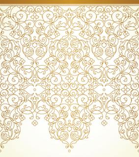 Vector ornate seamless border in Eastern style. Floral outline element for design. Line art vintage frame for invitations, birthday and greeting cards, certificate. Oriental golden decor.