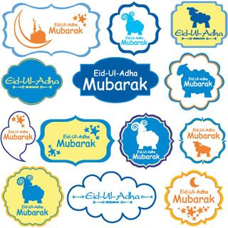 vector collection of Eid-Ul-Adha labels. Greeting tags for Muslim Festival of Sacrifice Eid-Ul-Adha with sheep.