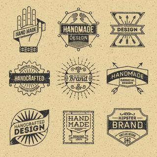 Grunge Hipster Retro Design Insignias Logotypes Set 10. Lo-Fi Vector Vintage Elements. Cardboard Texture.