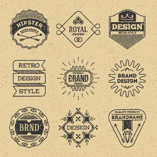 Grunge Hipster Retro Design Insignias Logotypes Set 9. Lo-Fi Vector Vintage Elements. Cardboard Texture.