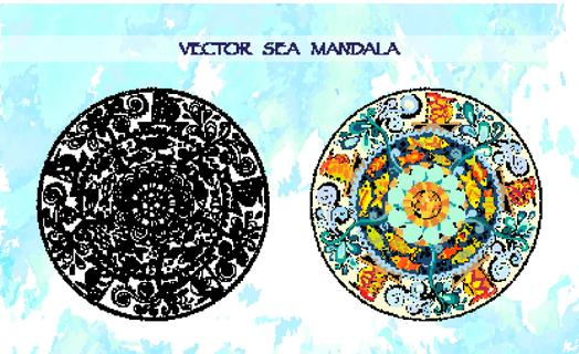 Ethnic colorful mandalas with decorative ornament, doodle fishes, waves, wind and fairytale ships. Black and white, colorful versions. Pattern can be used for wallpaper, pattern fills, coloring books.