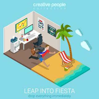 Flat 3d isometric style leap into fiesta concept web infographics vector illustration. Businessman jumping from office workplace to tropical ocean beach. Creative people website conceptual collection.