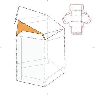 Pentagonal Retail Tube Box with Die Line Template