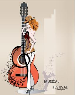 Abstract musical background with a fashion girl in hat, musicians, treble clef, notes. Guitar and saxophone.