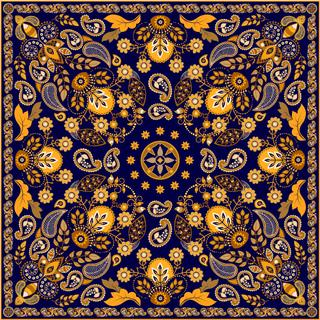 Golden ornamental floral paisley shawl, dark blue background. Square ornament.