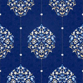 Vector seamless pattern with bright floral ornament. Vintage design element  in Eastern style. Ornamental lace tracery. Ornate floral decor for wallpaper. Traditional arabic decor on blue background.