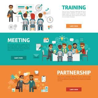 Business concept flat banners, icons set of office meeting, training, agreement, partnership, workplace and project ideas for infographics, design web elements vector illustration.