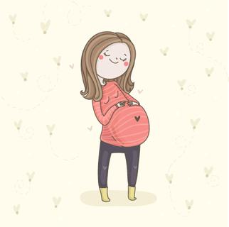 Cute pregnant woman. Waiting for baby vector illustration.