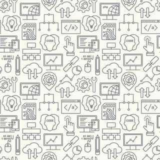 Internet technology and programming seamless background with linear icons set. Html, php and code seamless pattern with line style icons.