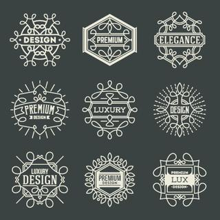 Premium Lux Insignias Logotypes Template Set. Line Art Vector Elements.