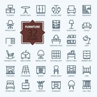 Outline web icon collection - furniture
