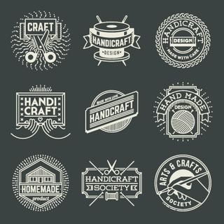 Handicraft Insignias Logotypes Template Set. Line Art Vector Elements.