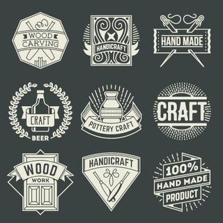 Hand Craft Insignias Logotypes Template Set. Line Art Vector Elements.