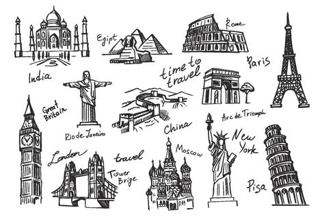 vector hand drawn travel icon sketch doodle