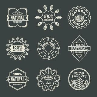 Natural Product Insignias Logotypes Set 1. Line Art Vector Elements.