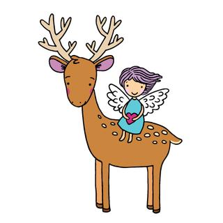 Deer and the angel. Hand drawn vector illustration on a white background.
