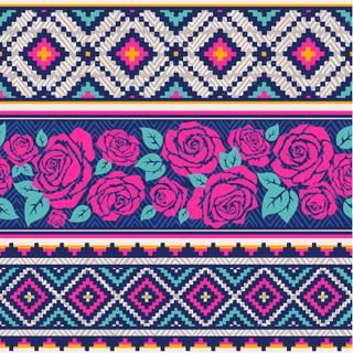 country vector seamless pattern with roses. ethnic abstract geometric art print. Wallpaper, cloth design, fabric, paper, wrapping, textile  design template. Hand drawn.