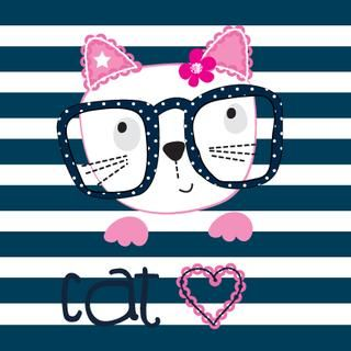cute cat with glasses on striped background vector illustration