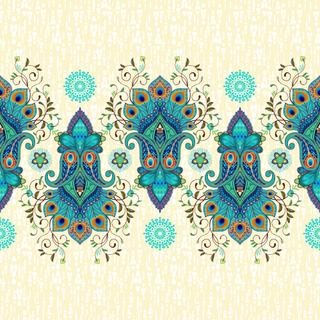 Vector seamless background with a border and delicate ornament. Paisley traditional flower with peacock feathers.