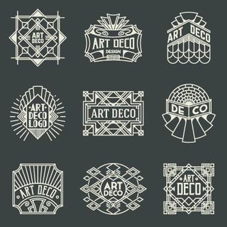 Art Deco Insignias Retro Design Logotypes Template Set. Line Art Vector Vintage Style Elements. Elegant Geometric Shiny Frames.