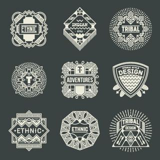 Ethnic Trible Insignias Logotypes Template Set. Line Art Vector Elements.