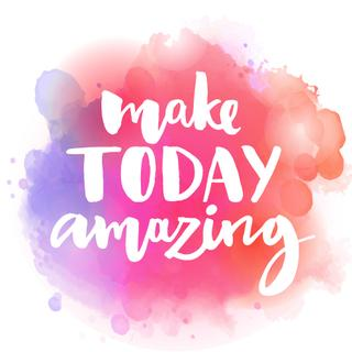 Make today amazing. Inspirational quote at colorful watercolor splash background, custom lettering for posters, t-shirts and cards. Vector brush calligraphy.