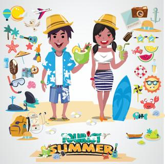 each couple with set of cute summer icons. happy beach concept. character design - vector illustration