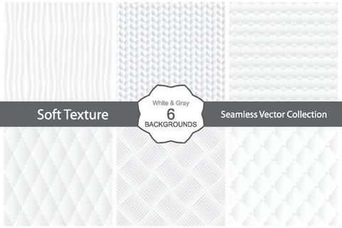 Vector collection of seamless white decorative textures.
