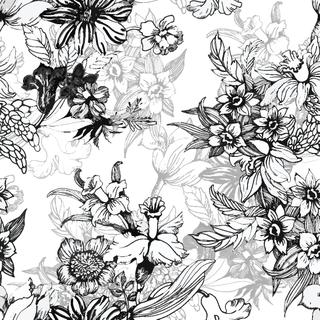Summer garden blooming flowers seamless monochrome pattern on white background, vector illustration