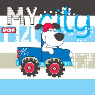 cute dog by car, T-shirt design vector illustration
