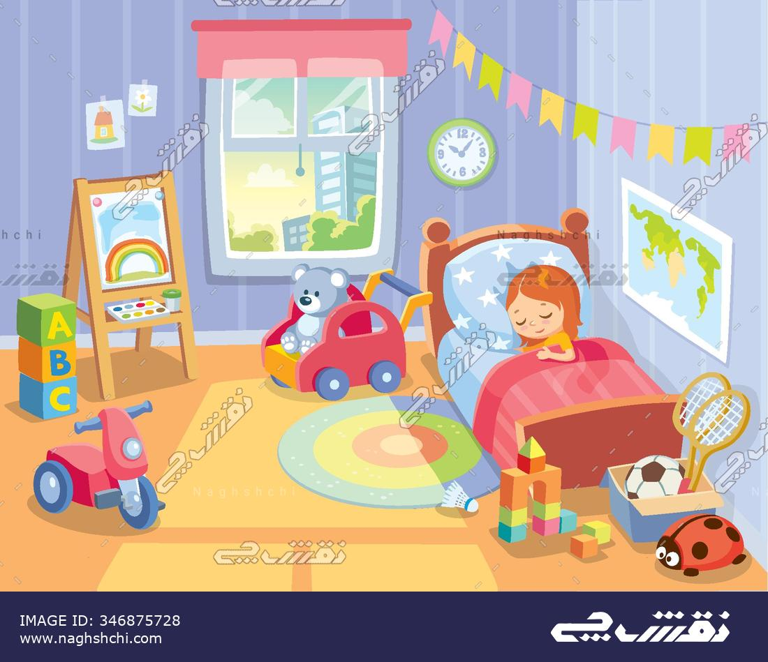 cozy childrens bedroom interior with furniture and toys