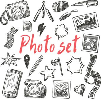 Photography equipment set. Hand drawn vector illustration. Can be used for photography studio.