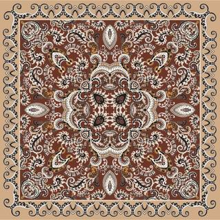 andanna with gray burgundy ornaments decorated paisley, small flowers on a brown   background with beige border