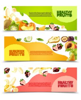 Summer healthy diet organically grown fruits and berries 3 horizontal colorful banners set abstract isolated vector illustration