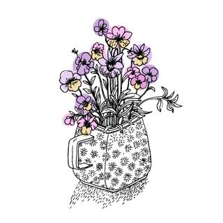 Violet flowers in a small vase. Hand drawn vector illustration on a white background.