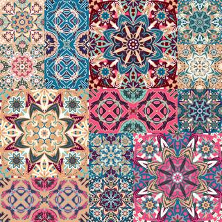 Seamless floral patchwork pattern. Vector checkered backgrounds set. Abstract textures with tile in east style. Blue pink brown ornament.