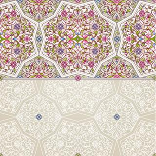 Vector seamless border in Eastern style on light background. Ornate element for design. Place for text. Ornament for wedding invitations, birthday and greeting cards. Floral spring oriental decor.