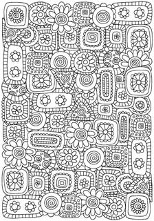 Pattern for coloring book with flovers and abstract figures.  A4 size. Ethnic, floral, retro, doodle, vector, tribal design element. Black and white  background.