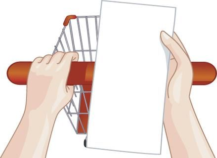 Illustration of a Person Checking His Shopping List While Pushing Their Cart