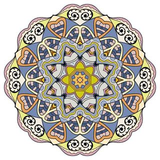 Mandala round ornament decorative isolated element, geometric floral circular pattern. Tribal ethnic Arabic Indian motif. Hand drawn fantasy abstract background