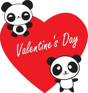 Cute Panda Love Heart Vector