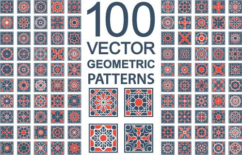 Patterns with geometric ornaments. Vector set of arabic seamless textures