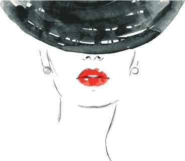 Beautiful woman portrait with hat. abstract vector fashion illustration