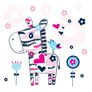 cute zebra with bird in flower garden vector illustration