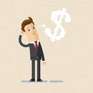 Businessman or manager. A man in a suit thinking about money. Illustration, vector, EPS10.